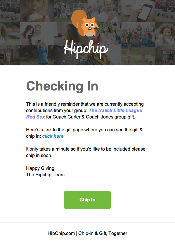 HipChip Invitation Email
